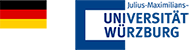 German flag and the logo of the University of Würzburg, Germany.